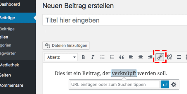 interne Verlinkung setzen mit WordPress