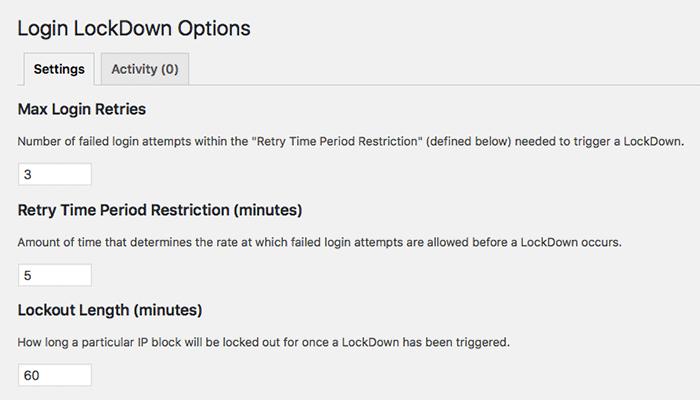 Login Lockdown konfigurieren