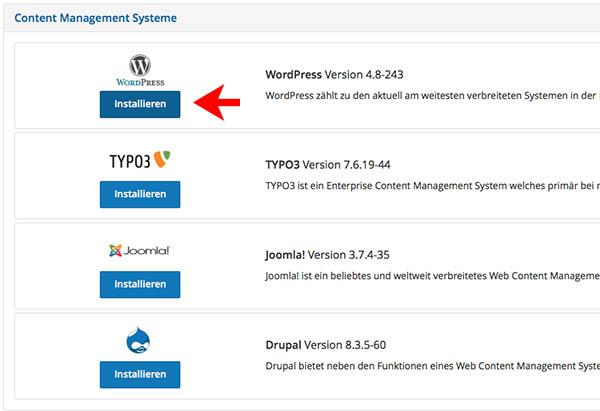 WordPress Installation mit AppWizard