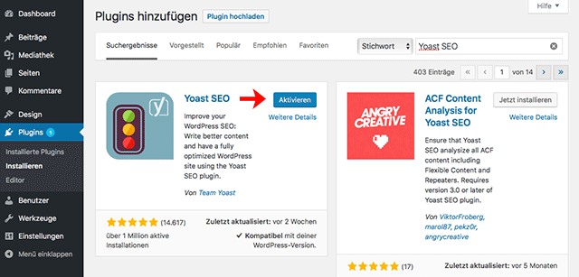 SEO Plugin Installieren mit WordPress