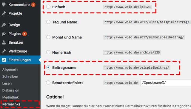 URL ändern mit WordPress