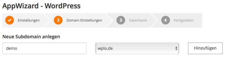 AppWizard Domain Einstellungen