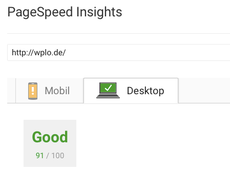 Page Speed Insights Wert fuer Wplo nach Optimierung