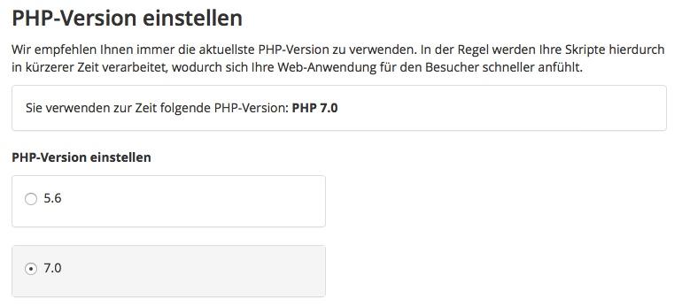 PHP 7 aktivieren