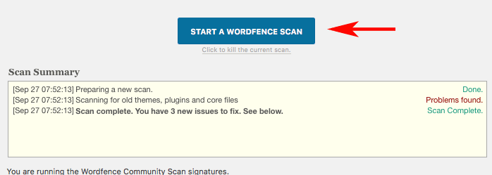 Wordfence Security Scan