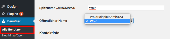 Namen des Autors ändern mit WordPress