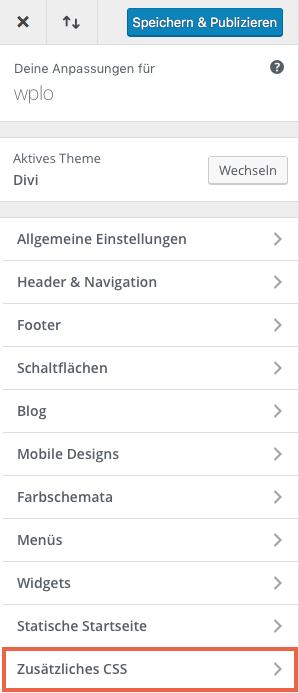 Zusätzliches CSS einbinden mit Divi