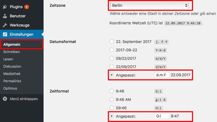 Datum und Uhrzeit einstellen mit WordPress