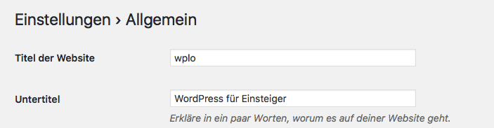 Seitentitel einstellen mit WordPress