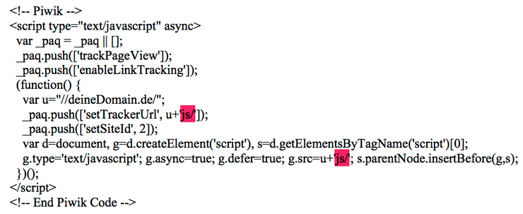 Piwik Tracking Code - Komprimierung aktivieren