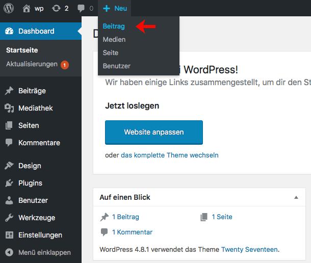 WordPress Beitrag hinzufügen