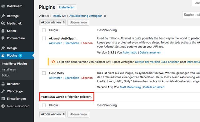 Plugin mit WordPress entfernen