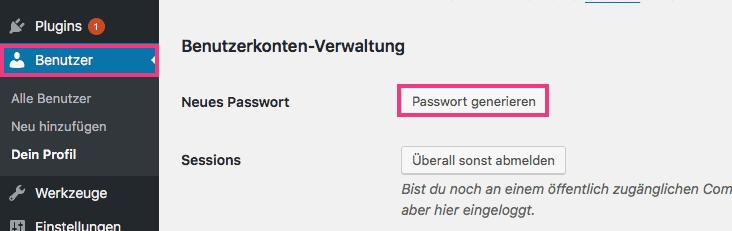 Neues Passwort anlegen mit WordPress