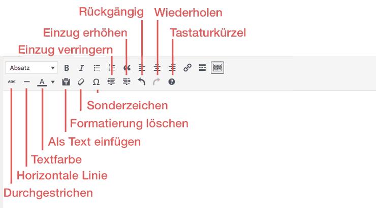 Visual Texteditor erweiterte Werkzeugleiste