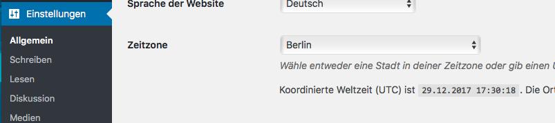 richtige Zeitzone einstellen mit WordPress
